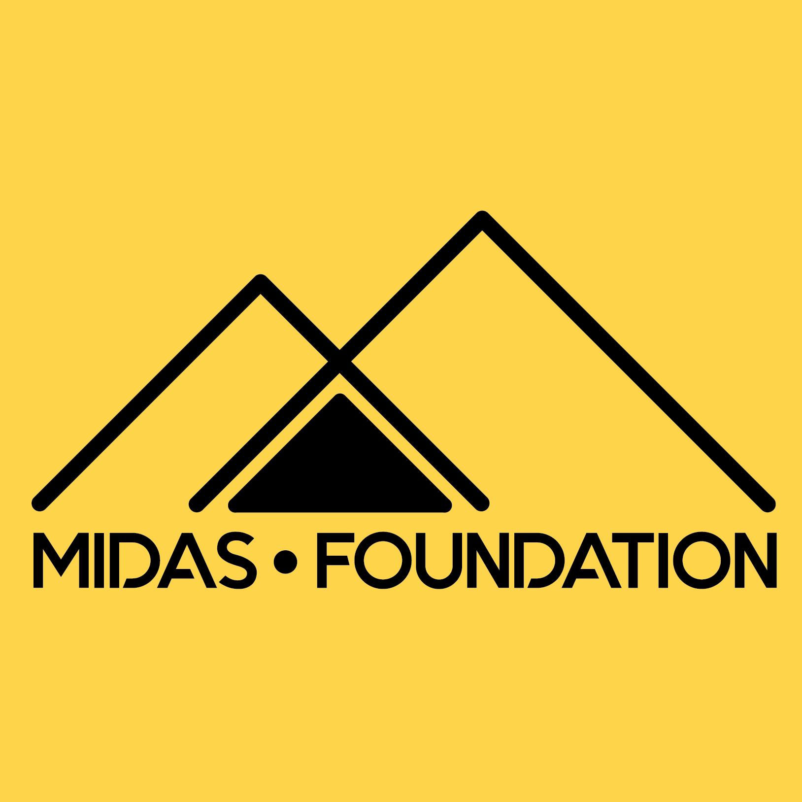 Midas Foundation full logo square (black on yellow)